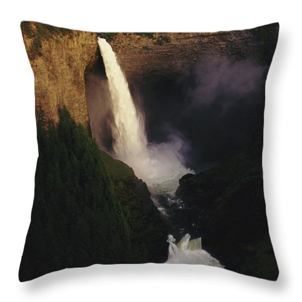 An Elevated View Of Helmcken Falls Throw Pillow by Raymond Gehman