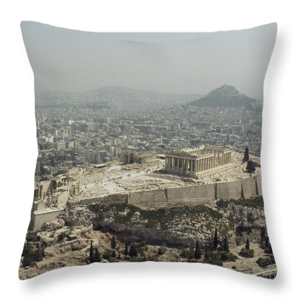 An Elevated View Of The Parthenon Throw Pillow by James P. Blair