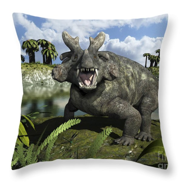 An Estemmenosuchus Mirabilis Stands Throw Pillow by Walter Myers