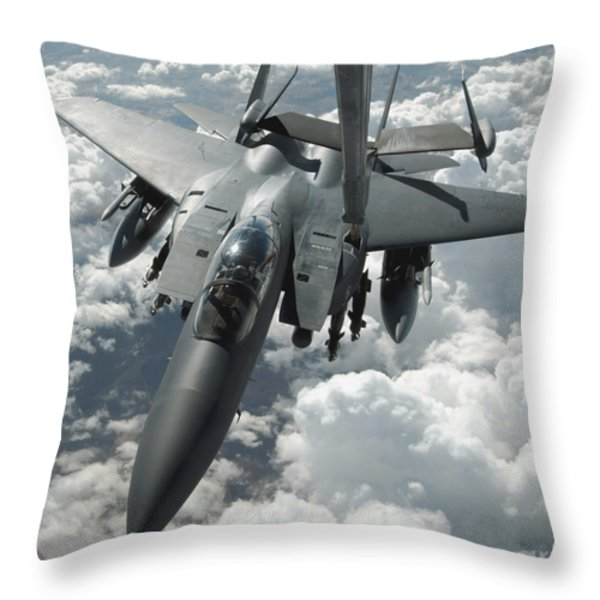 An F-15 E Strike Eagle Receives Fuel Throw Pillow by Stocktrek Images