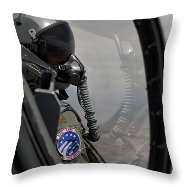 An F-16 Pilot Checks The Position Throw Pillow by HIGH-G Productions