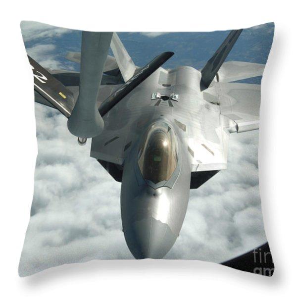 An F-22a Raptor Refuels With A Kc-135 Throw Pillow by Stocktrek Images