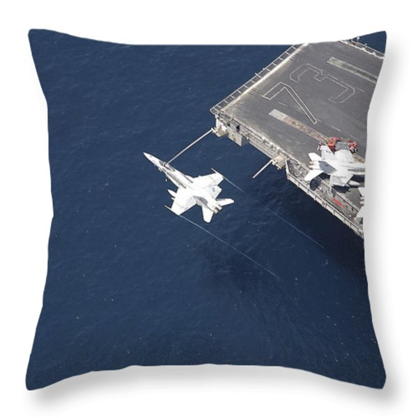An Fa-18 Hornet Flys Over Aircraft Throw Pillow by Stocktrek Images