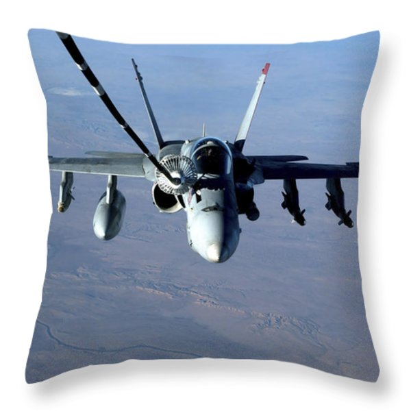 An Fa-18c Hornet Receives Fuel Throw Pillow by Stocktrek Images
