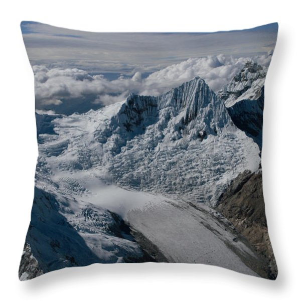 An Icy Ravine Between Glacial Peaks Throw Pillow by Bobby Haas