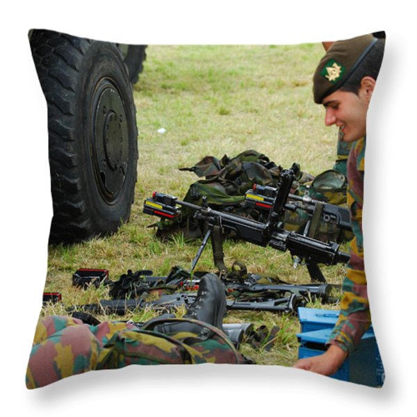 An Infantry Unit Of The Belgian Army Throw Pillow by Luc De Jaeger