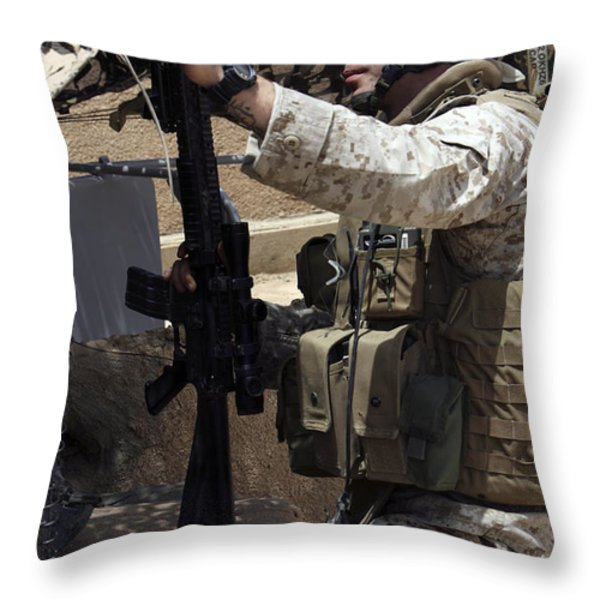 An Infantryman Talks To His Marines Throw Pillow by Stocktrek Images