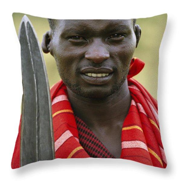 An Informal Portrait Of A Masai Warrior Throw Pillow by Michael Melford