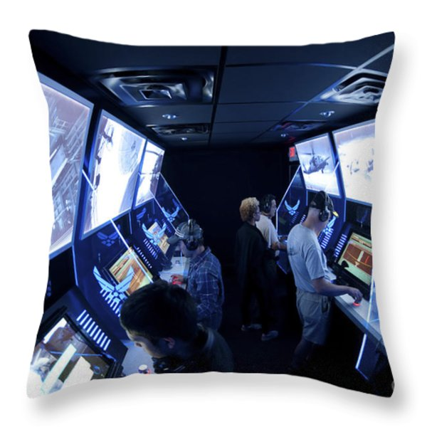 An Interactive Display Room Throw Pillow by Stocktrek Images