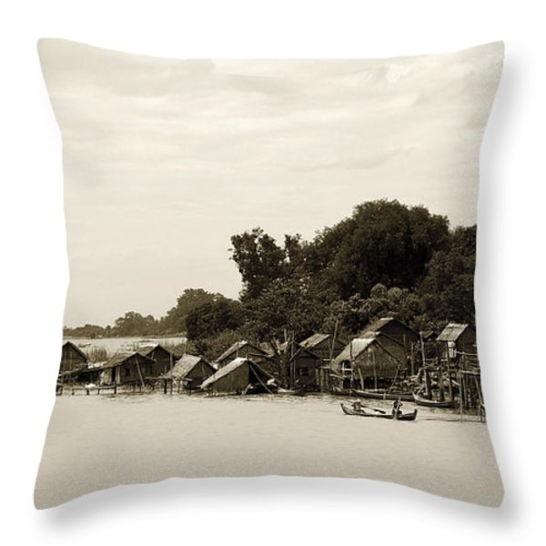 An Island Village On River Irrawaddy Throw Pillow by RicardMN Photography