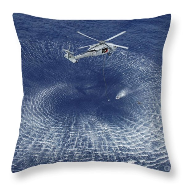 An Mh-60s Knight Hawk Prepares Throw Pillow by Stocktrek Images