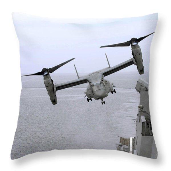An Mv-22b Osprey Takes Throw Pillow by Stocktrek Images