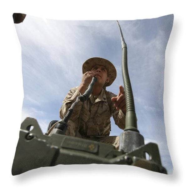 An Officer Conducts A Radio Check Throw Pillow by Stocktrek Images