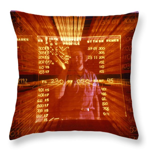 An Officer Demonstrates Writing Throw Pillow by Michael Wood