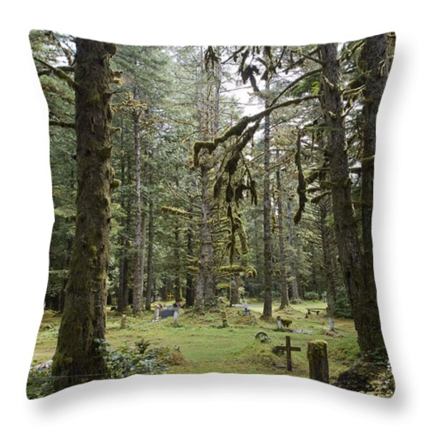 An Old Cemetary In A Forest Throw Pillow by Taylor S. Kennedy