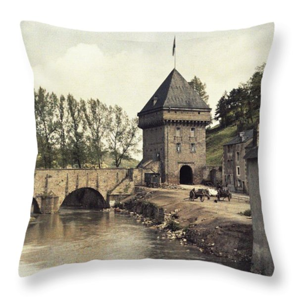 An Old Gate Stands At The Bridge Throw Pillow by Maynard Owen Williams
