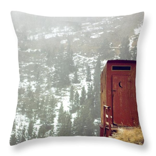 An Outhouse Perches On A Hillside Throw Pillow by Rex A. Stucky