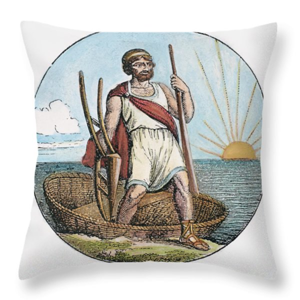Ancient Briton And Coracle Throw Pillow by Granger