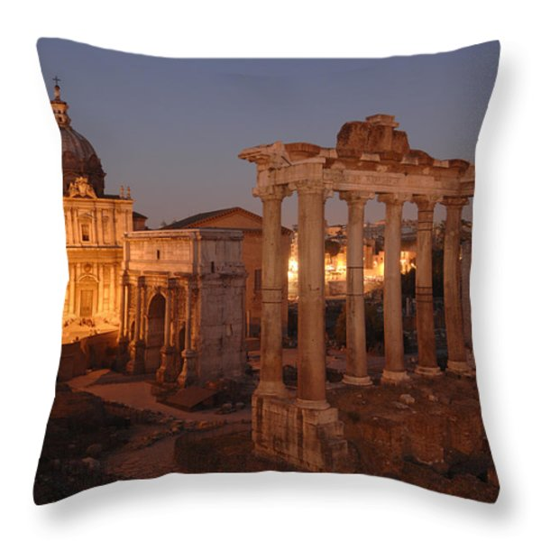Ancient Romes Skyline At Sunset Throw Pillow by Kenneth Garrett