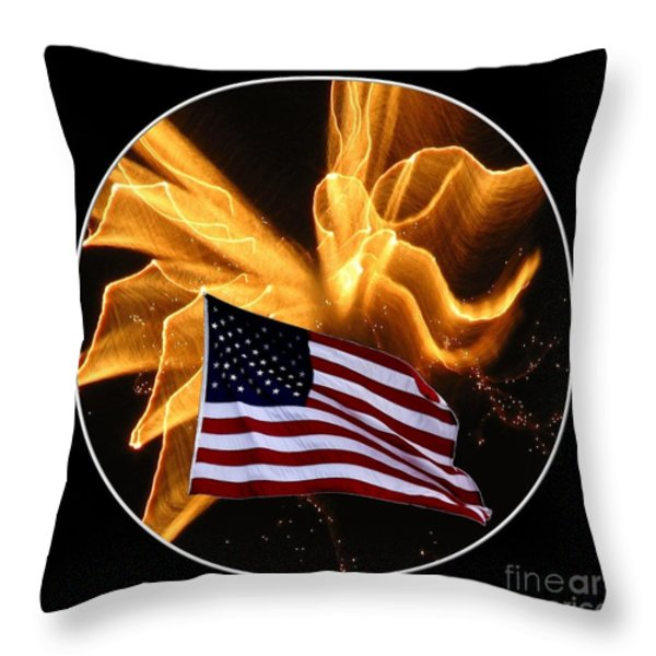 Angel Fireworks and American Flag Throw Pillow by Rose Santuci-Sofranko