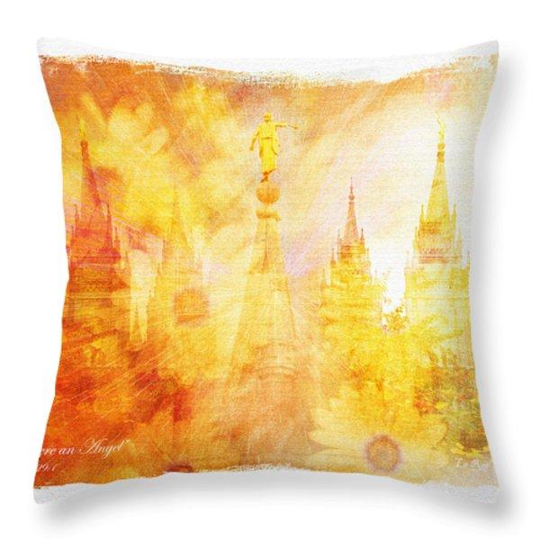 Angel Golden Throw Pillow by La Rae  Roberts