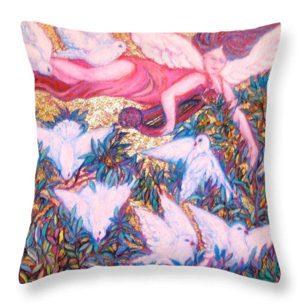 Angel Guarding Theseven7 Virtues II - Art Deco Throw Pillow by Gunter  Hortz
