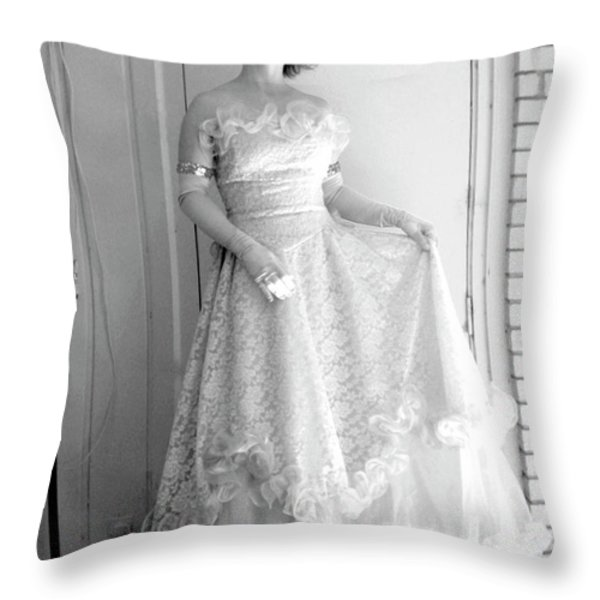 Angel in my backyard Throw Pillow by James W Johnson