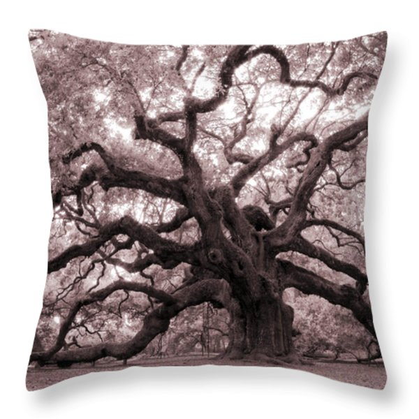 Angel Oak Tree Throw Pillow by Dustin K Ryan