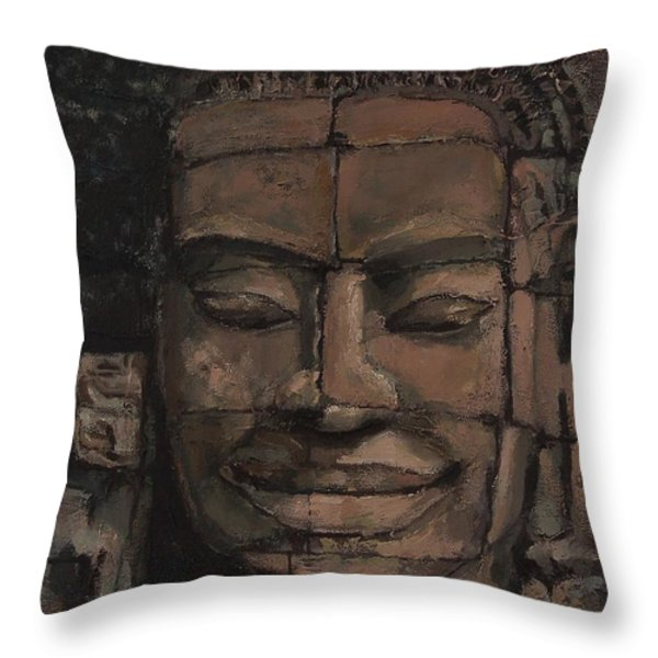Angkor Smile - Angkor Wat Painting Throw Pillow by Khairzul MG