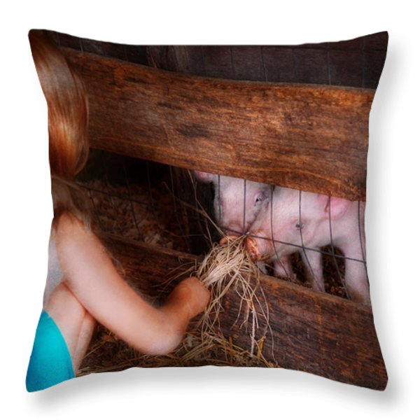 Animal - Pig - Feeding piglets  Throw Pillow by Mike Savad