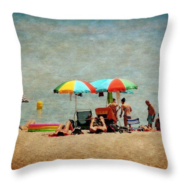 Another Day At The Beach Throw Pillow by Mary Machare