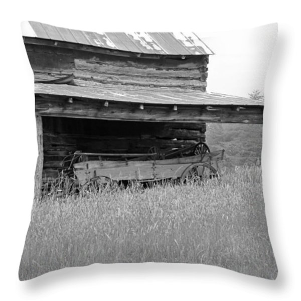 Another Time -- black and white Throw Pillow by Suzanne Gaff