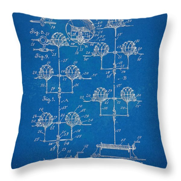 Anti-aircraft Air Mines Patent Artwork 1916 Throw Pillow by Nikki Marie Smith