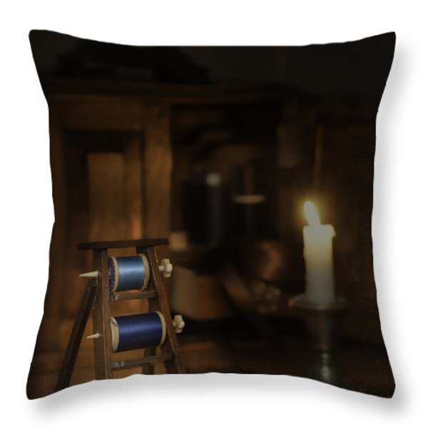Antique Sewing Items Throw Pillow by Amanda And Christopher Elwell