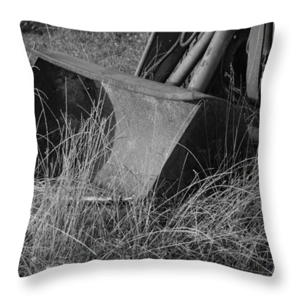 Antique Tractor Bucket in Black and White Throw Pillow by Jennifer Lyon