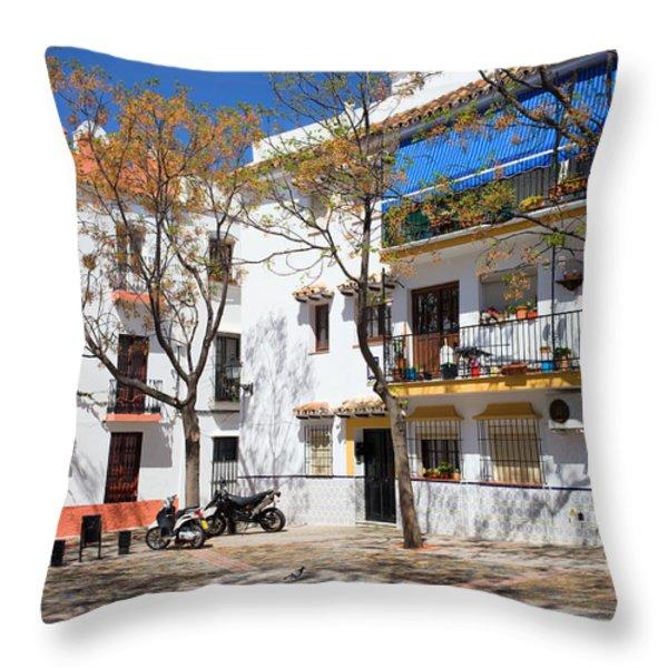 Apartment Houses in Marbella Throw Pillow by Artur Bogacki