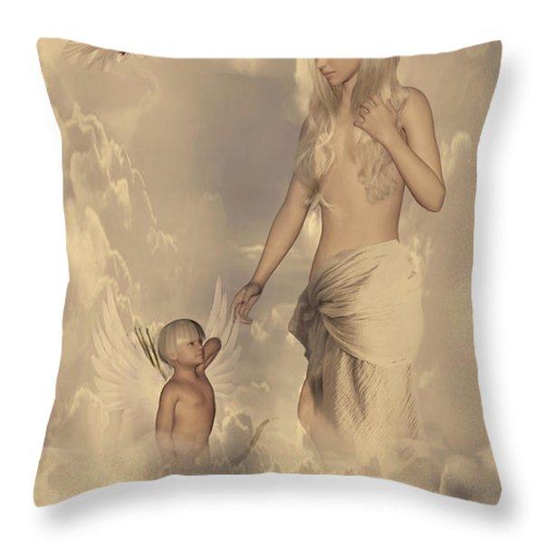 Aphrodite And Eros Throw Pillow by Lourry Legarde