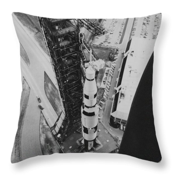 Apollo 500-f Saturn V Rocket Throw Pillow by NASA / Science Source