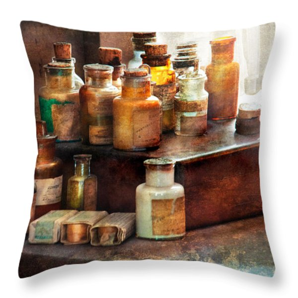Apothecary - Chemical Ingredients  Throw Pillow by Mike Savad