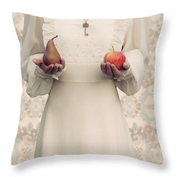 Apple And Pear Throw Pillow by Joana Kruse