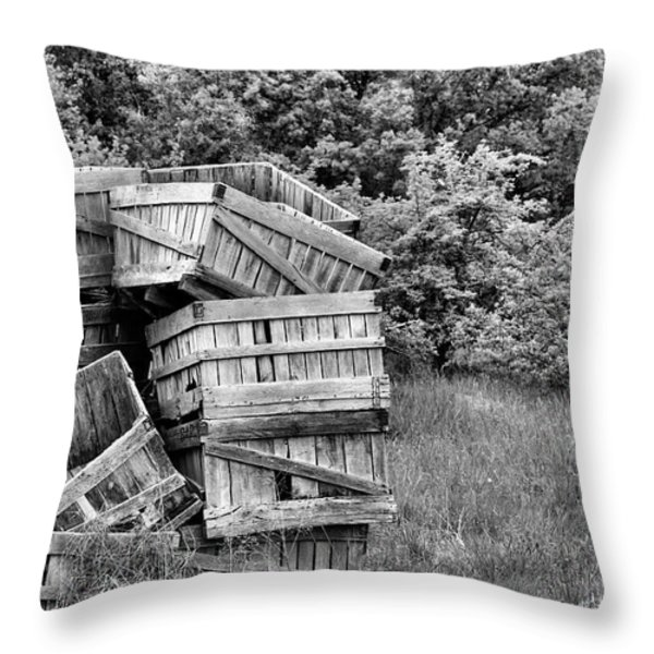 Apple Crate BW Throw Pillow by JC Findley