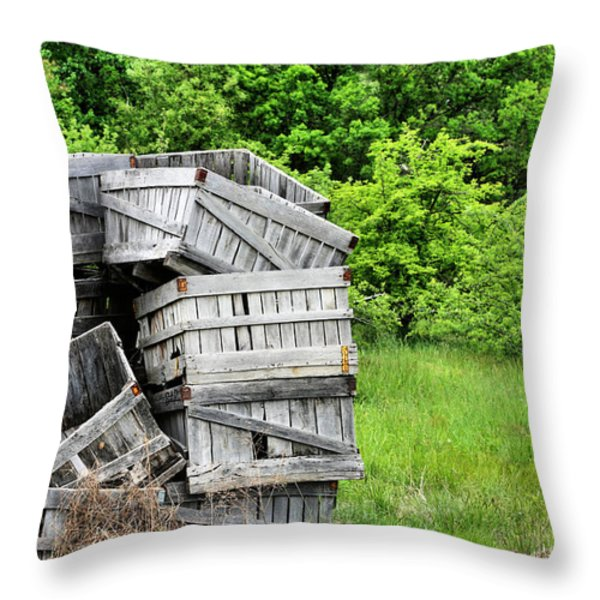 Apple Crates Throw Pillow by JC Findley