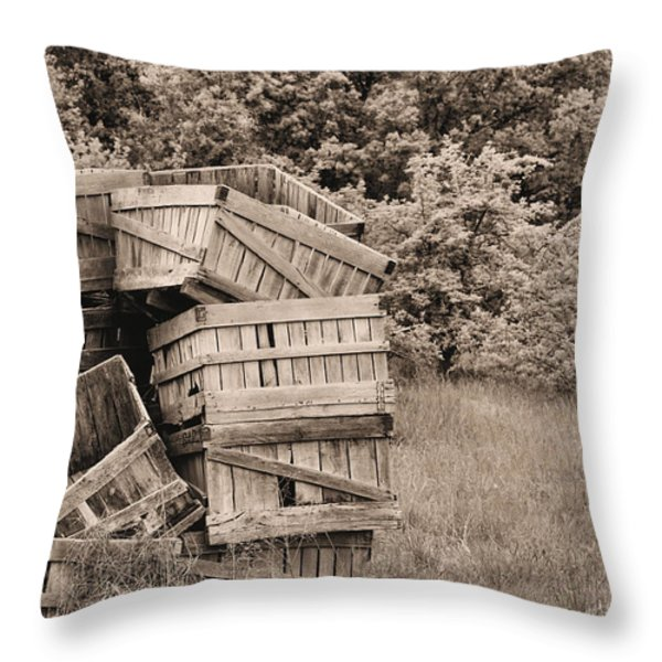Apple Crates Sepia Throw Pillow by JC Findley