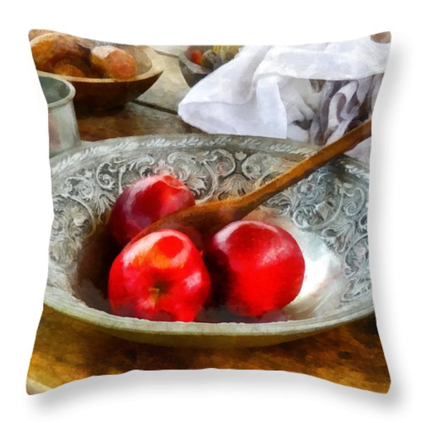 Apples In A Silver Bowl Throw Pillow by Susan Savad
