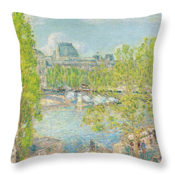 April On The Quai Voltaire In Paris Throw Pillow by Childe Hassam