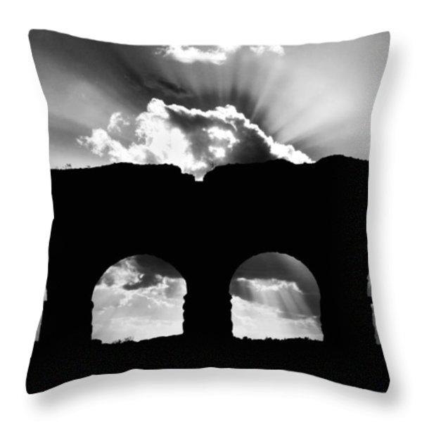 Aqua Claudia Aqueduct Throw Pillow by Fabrizio Troiani