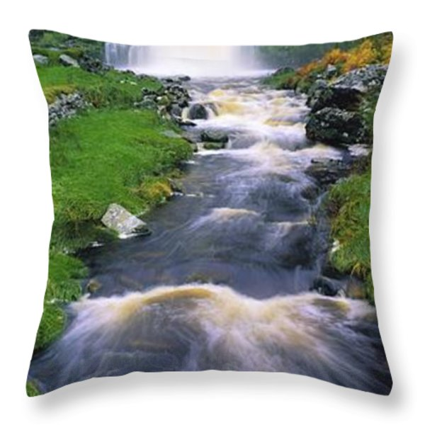 Ardara, Co Donegal, Ireland Waterfall Throw Pillow by The Irish Image Collection