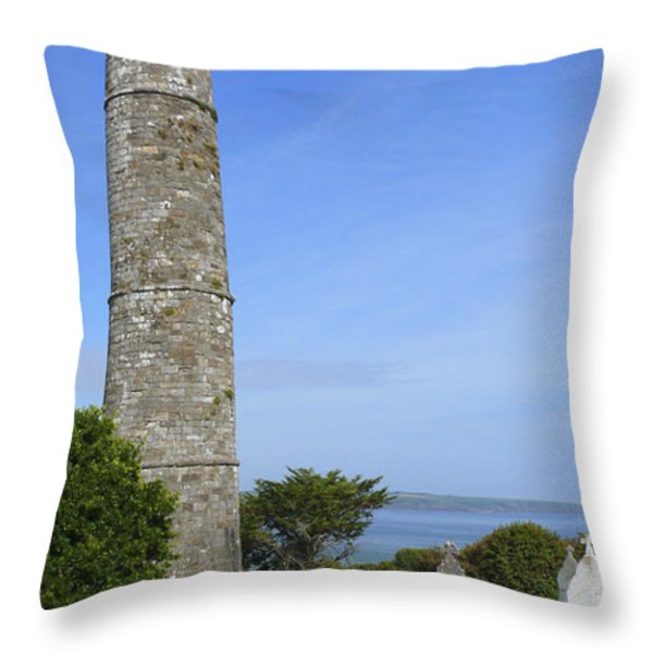 Ardmore Round Tower - Ireland Throw Pillow by Mike McGlothlen
