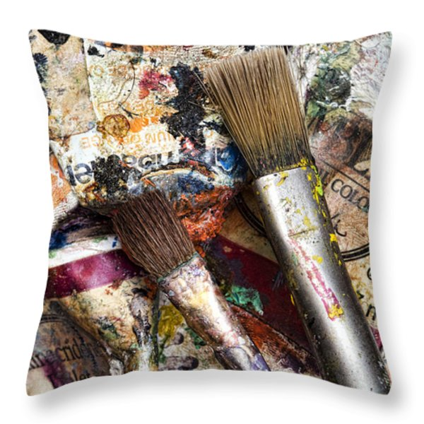 Art Is Messy 1 Throw Pillow by Carol Leigh