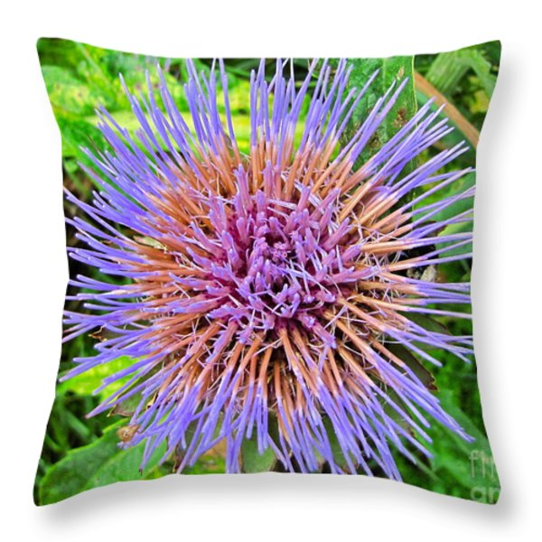 Artichoke Blossom Throw Pillow by Sean Griffin